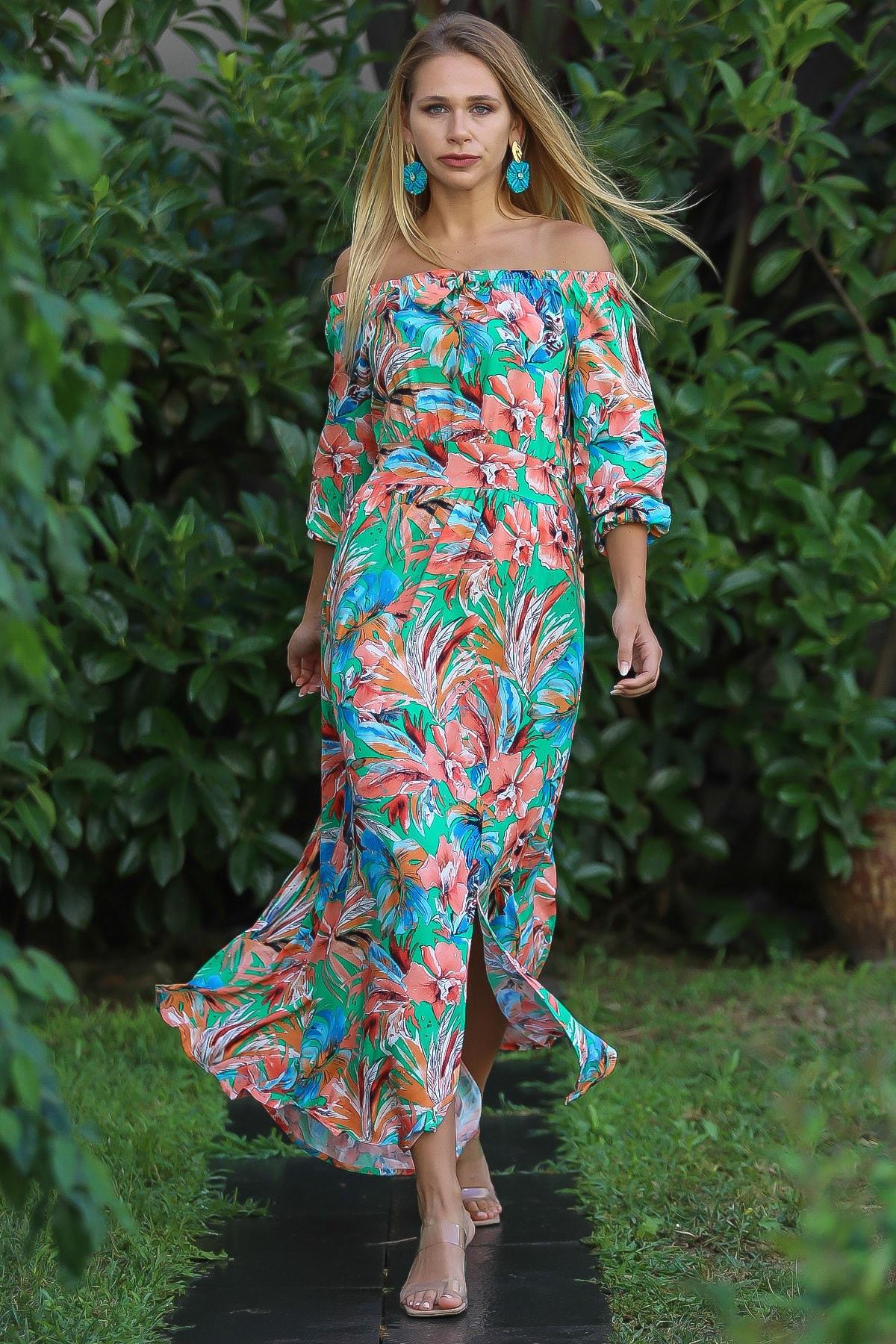 Chiccy Kadın Yeşil Bohem Carmen Yaka Sırtı Fermuar Detaylı Yırtmaçlı Uzun Elbise M10160000El96499 0