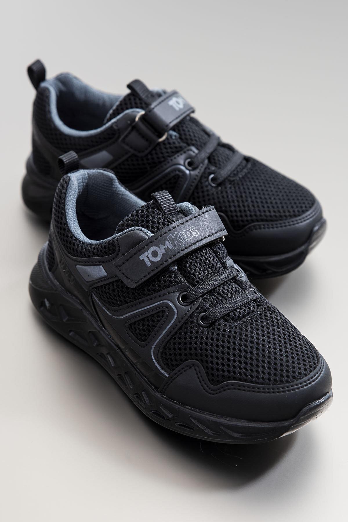 Tonny Black Unisex Çocuk Siyah Spor Ayakkabı TB3401-3 0