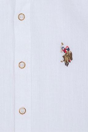 US Polo Assn Beyaz Erkek Çocuk Dokuma Gömlek 1