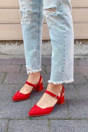 Straswans Xiomara Kadın Kırmızı Süet Topuklu Ayakkabı 0