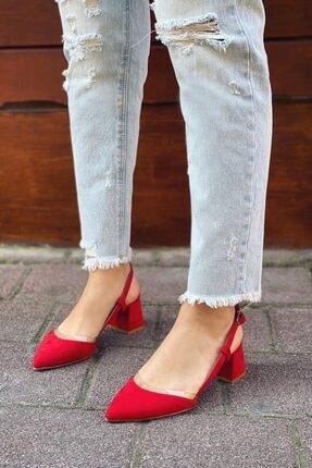 Straswans Kadın Kırmızı Süet Topuklu Ayakkabı 0