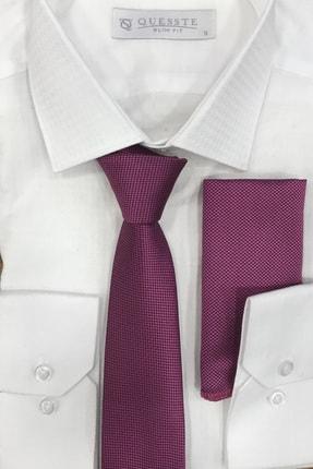 Quesste Accessory Erkek Pembe Armür Dokumalı Noktalı Mendilli Ince Kravat 6 cm 0