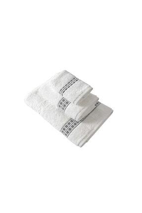 Maisonette Flossy Havlu 30x50 cm Beyaz-gri 1