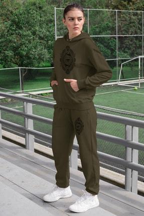 Angemiel Wear Üçgen Motifleri Ay Ve Göz Kadın Eşofman Takımı Yeşil Kapşonlu Sweatshirt Yeşil Eşofman Altı 0