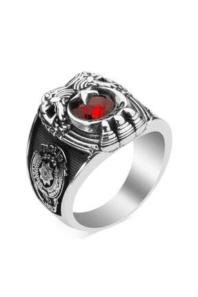 Anı Yüzük Çift Kartal Başlı Tuğralı Polis Yüzüğü Kırmızı Taşlı 1