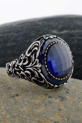 Anı Yüzük Mavi Taş Çevrili Fasetli Mavi Zirkonlu Gümüş Erkek Yüzük 4