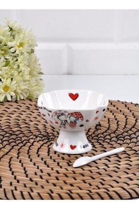Lora Paçi 12 Parça Beyaz Porselen Kaşıklı Küçük Kare Dondurmalık (p-por-100726) 3