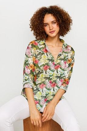 Kadın Beyaz Çiçek Desenli Vual Tunik 60079 u60079 resmi