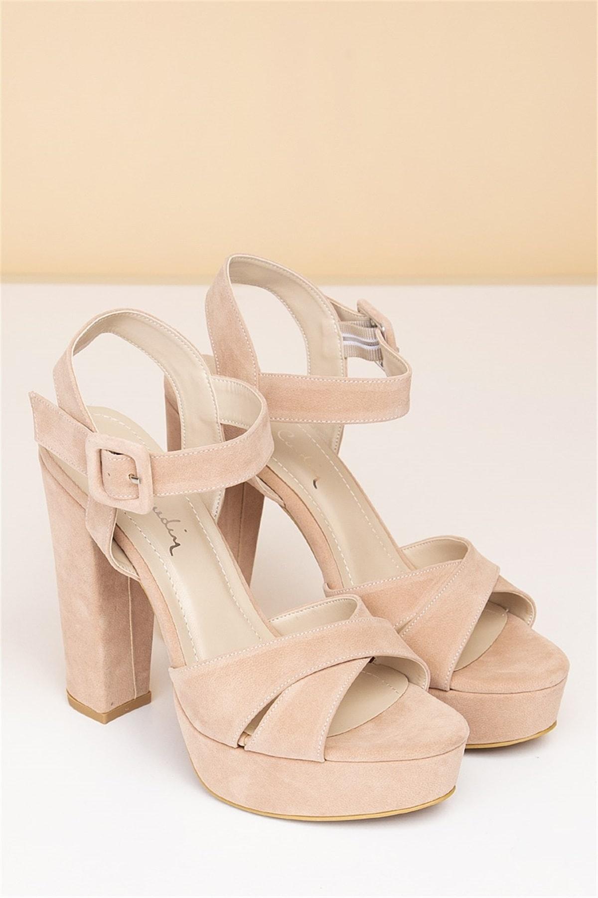 Pierre Cardin Kadın Topuklu Ayakkabı-Süet Pudra
