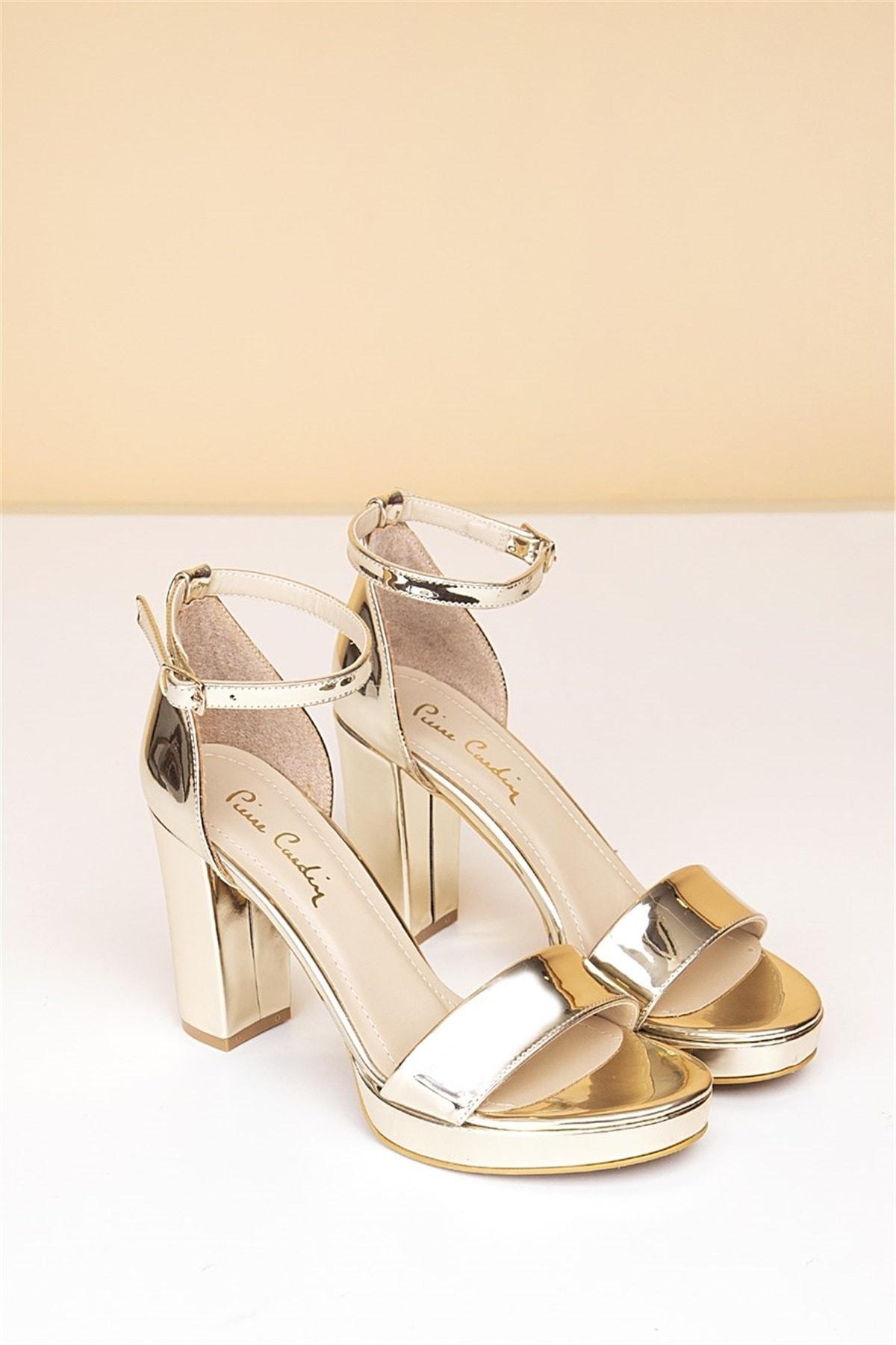 Pierre Cardin Kadın Topuklu Ayakkabı-Rugan Altın