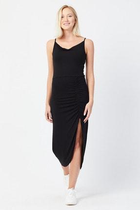 UNV COLLECTION Kadın Ince Askılı Yırtmaç Detaylı Elbise 0
