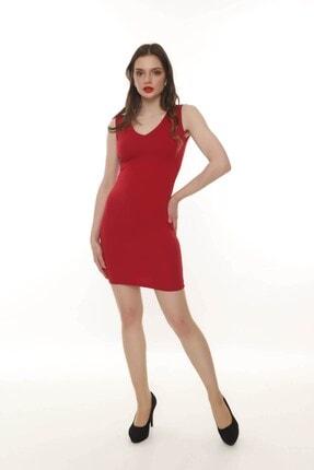 Moda Feminen Kadın Ön Arka V Yaka Kalem Elbise 2