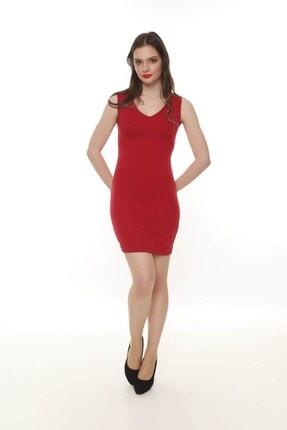 Moda Feminen Kadın Ön Arka V Yaka Kalem Elbise 3