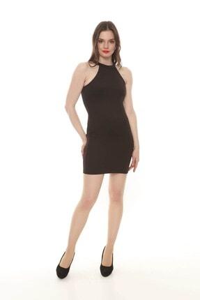 Moda Feminen Kadın Siyah Düz Kalem Elbise 2