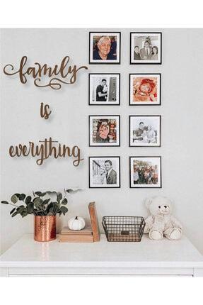 NCS Ahşap Sanat Atölyesi Dekoratif Ahşap Tablo Family Is Everything Duvar Yazı 0