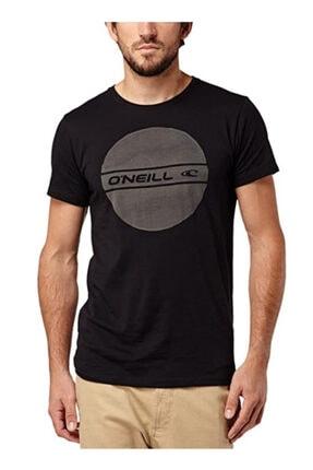 Erkek Siyah Circle Logo Organic Coton Tshirt resmi