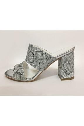Beyaz Adım Ayakkabı Kadın Gümüş Topuklu Terlik 0
