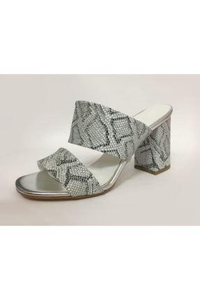 Beyaz Adım Ayakkabı Kadın Gümüş Topuklu Terlik 1