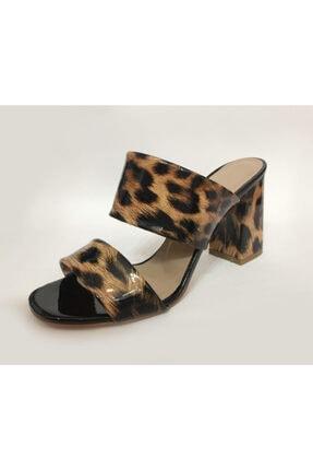 Beyaz Adım Ayakkabı Kadın Leopar Desenli Topuklu Terlik 1