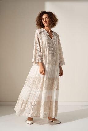 Camena V Yaka Dantel Detaylı Elbise 2019070500161 0