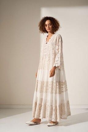 Camena V Yaka Dantel Detaylı Elbise 2019070500161 1