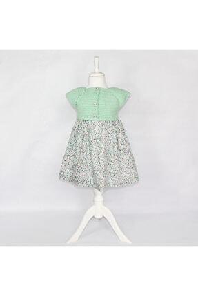 BaDe Tasarım Bebek Yeşil Vintage Pamuklu Kumaş Elbise 0