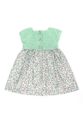BaDe Tasarım Bebek Yeşil Vintage Pamuklu Kumaş Elbise 1