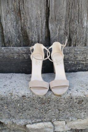 BUTİK 37.5 Kadın Bej Süet Tek Bant Topuklu Ayakkabı 0