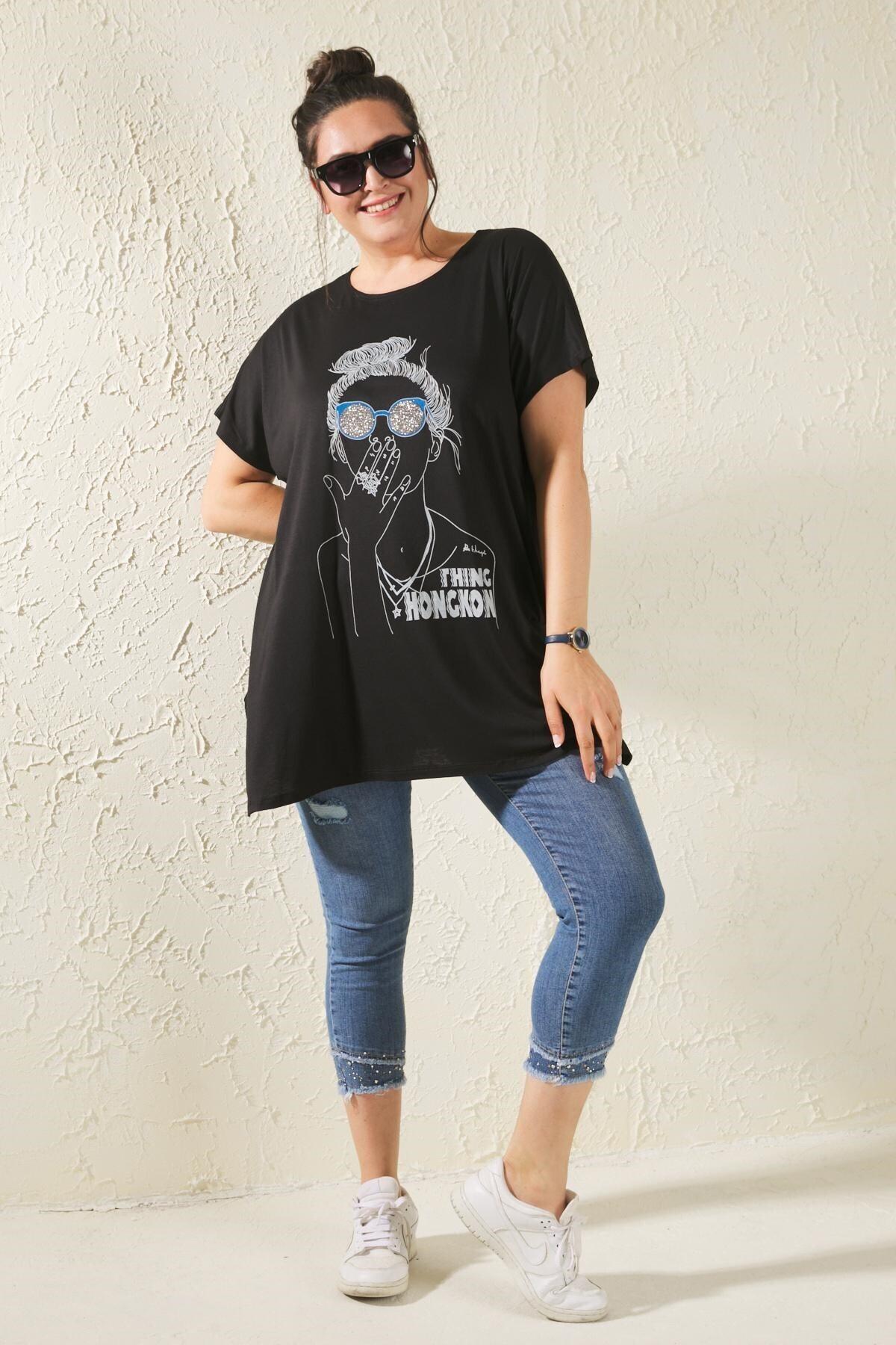 Kadın Siyah Büyük Beden Salaş Figürlü T-shirt