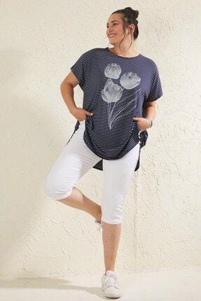 Siyezen Lacivert Büyük Beden Salaş Çizgili Lale Baskılı T-shirt 1