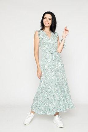 EPULİMO Kadın Mint Yeşili Kruvaze Yaka Kuşaklı Kısa Kol Viskon Elbise 1