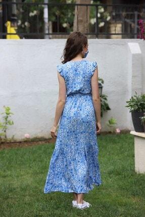 EPULİMO Kadın Mavi Kruvaze Yaka Kusaklı Kısa Kol Viskon Elbise Mcg 621 3