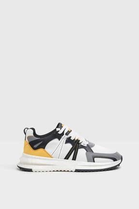 Bershka Erkek Beyaz File Şeritli Spor Ayakkabı 0