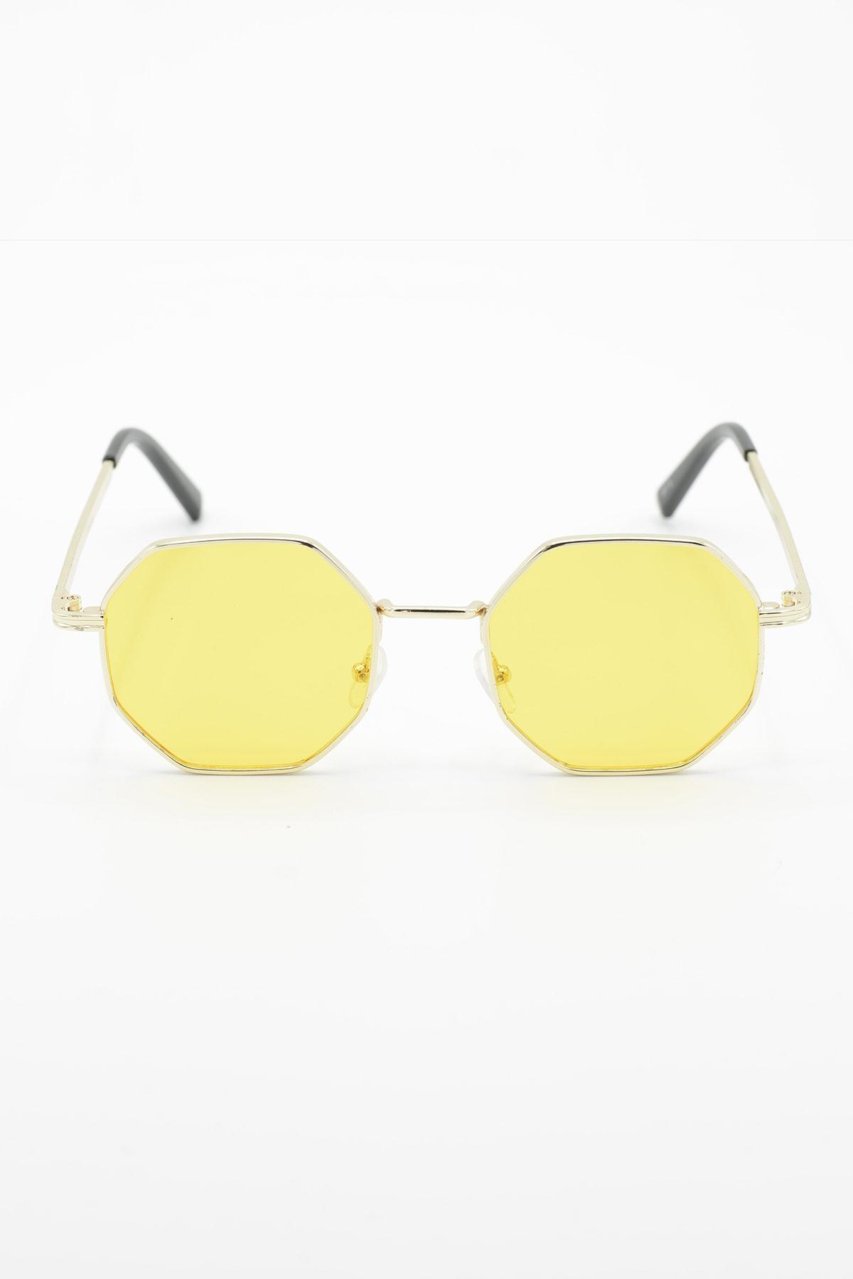 Unisex Sekizgen Sarı Güneş Gözlüğü