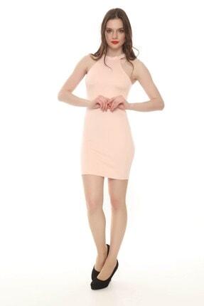 Moda Feminen Kadın Pembe Düz Kalem Elbise 1