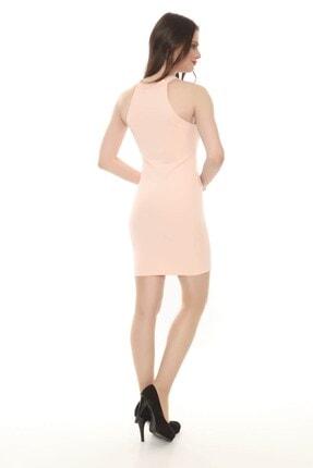 Moda Feminen Kadın Pembe Düz Kalem Elbise 3