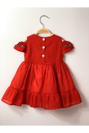 Buse&Eylül Bebe Kırmızı Nakışlı Pamuk Kız Çocuk Elbisesi 1