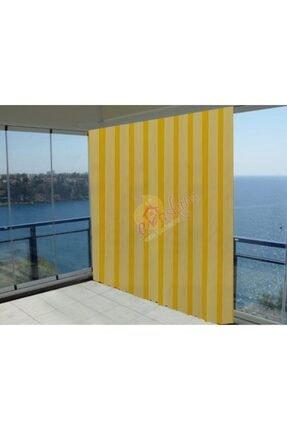 LARİS Evaşkım 120x180 Cm Balkon Perdesi Balkon Brandası Ince Çizgi Sarı 0