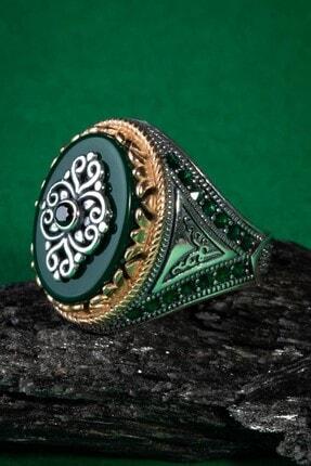Anı Yüzük Üçgen Motifli Yeşil Zirkon Taşlı Gümüş Erkek Yüzük 4