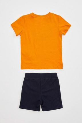 Defacto Erkek Bebek Hey Sloganlı Şort Tişört Takım 1
