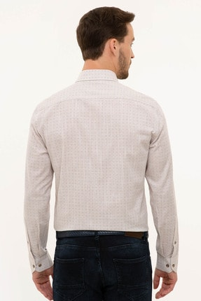 Pierre Cardin Erkek Bej Slim Fit Gömlek 2