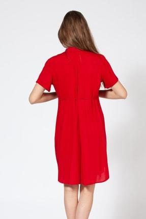 BUSA Kadın Kırmızı Düğmeli Hamile Günlük Elbise 2