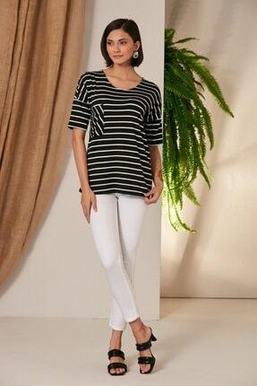 Rmg Kadın Çizgili Siyah T-Shirt 3