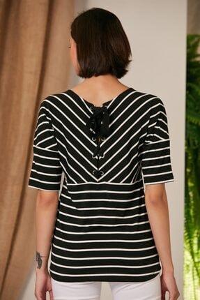 Rmg Kadın Çizgili Siyah T-Shirt 4