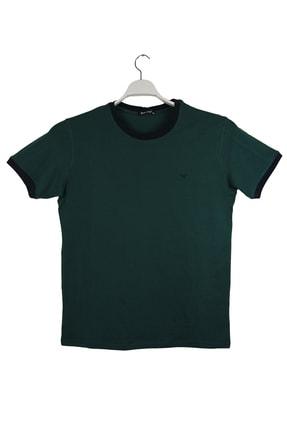 Blackcoach Yeşil Pamuklu Büyük Beden Bisiklet Yaka Likralı Süprem T-shirt 0