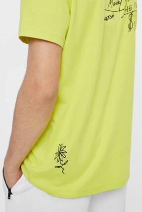 Bershka Erkek Sarı Grafiti Baskılı T-Shirt 3