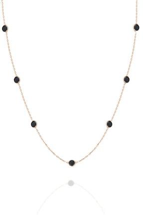 Trend Silver Gümüş 45 cm Rose Sıra Taşlı Oniks Siyah Taşlı Kolye Tiffany Kolye 0