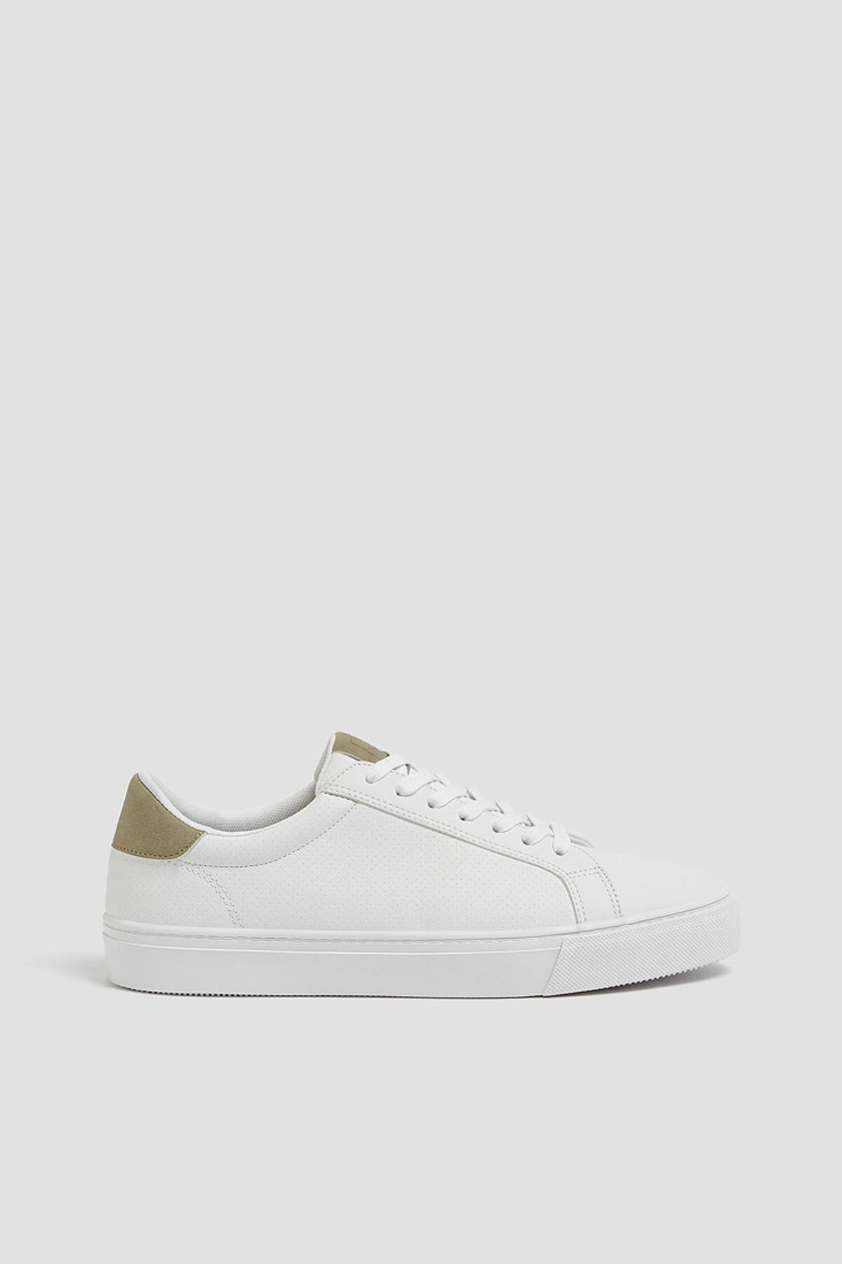 Pull & Bear Erkek Beyaz Mikro Delikli Spor Ayakkabı 12204640 0