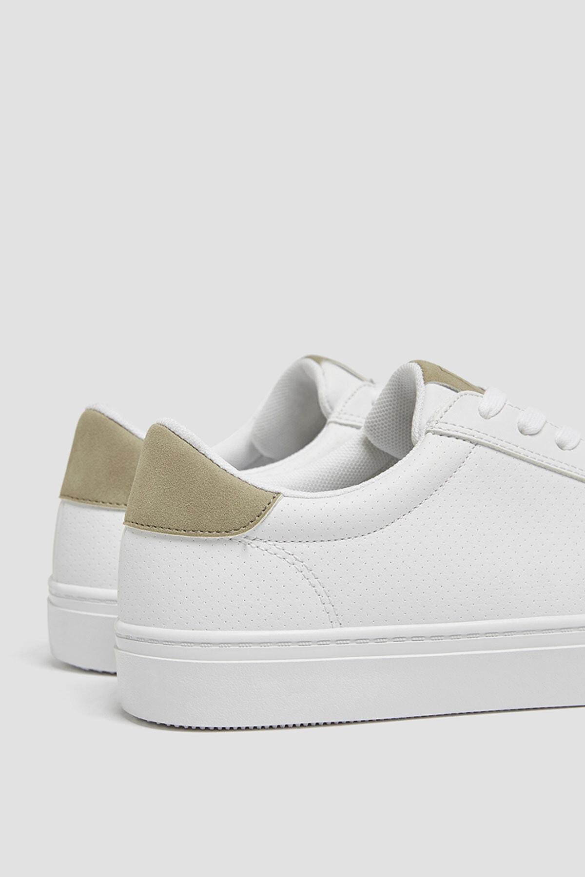 Pull & Bear Erkek Beyaz Mikro Delikli Spor Ayakkabı 12204640 4