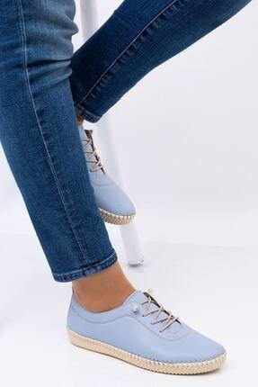 Hoba Kadın Mavi Ortopedik Lastik Bağcıklı İçi Deri Alçak Topuklu Günlük Rahat Ayakkabı 0
